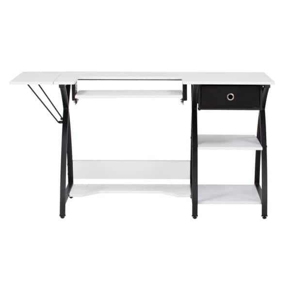 Sew Ready Comet Collection 56 75 In W X 23 5 In D Pb Craft Sewing Table With Storage Drawer In White With Black Frame 13333 The Home Depot