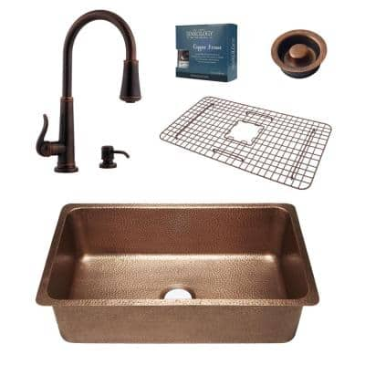 David All-in-One Undermount Copper 31-1/4 in. Single Bowl Kitchen Sink with Pfister Ashfield Bronze Faucet and Drain