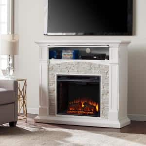 Conway 45.75 in. Electric Fireplace TV Stand in White with White Faux Stone