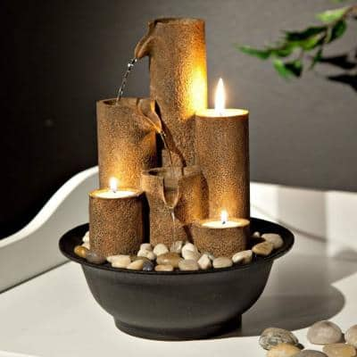 11 in. Tall Indoor Tiered Column Tabletop Fountain with 3 Candles