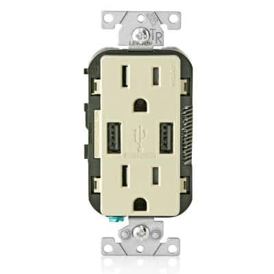 3.6A USB Dual Type A In-Wall Charger with 15 Amp Tamper-Resistant Outlets, Ivory