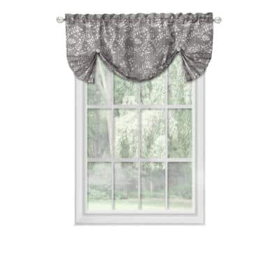 Charlotte 17 in. L Polyester Window Curtain Valance in Grey