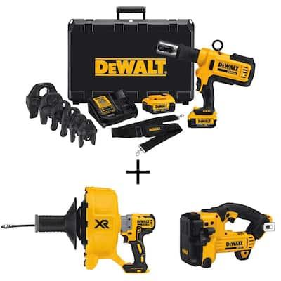 20-Volt MAX Cordless Press Tool, (6) Press Jaws, (2) 20-Volt 4.0Ah Batteries, Drain Snake & Threaded Rod Cutter