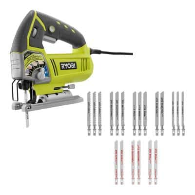 4.8 Amp Corded Variable Speed Orbital Jig Saw withAll Purpose Jig Saw Blade Set (20-Piece)