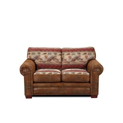Deer Valley Lodge 67 in. brown Pattern Microfiber 2-Seater Loveseat with Removable Cushions