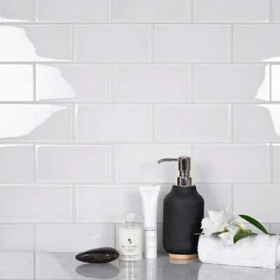 White 3 in. x 6 in. Matte Finished Glass Mosaic Tile (5 sq. ft./Case)