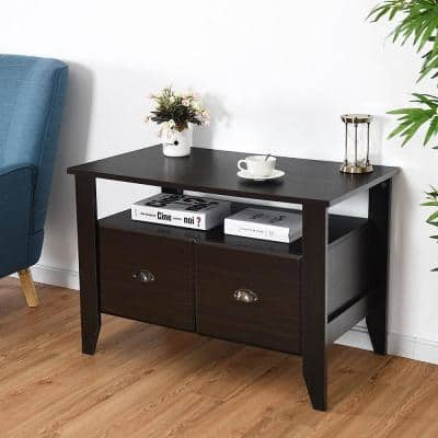 Black Decorative Lateral File Cabinet with 2-Drawers