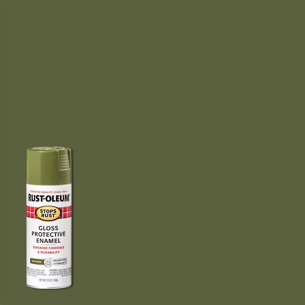 Rust-Oleum Stops Rust 12 oz. Protective Enamel Gloss Army Green Spray Paint (6-Pack)