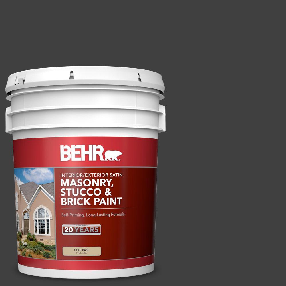 5 gal. #1350 Ultra Pure Black Satin Interior/Exterior Masonry, Stucco and Brick Paint