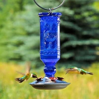 Blue Antique Square Decorative Glass Hummingbird Feeder - 16 oz. Capacity