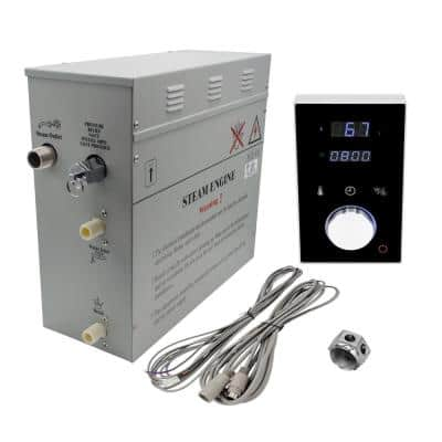 Superior 9kW Deluxe Self-Draining Steam Bath Generator Digital Programmable Control in Black and Chrome Steam Outlet