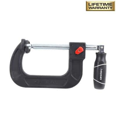 4 in. Quick Adjustable C-Clamp with Rubber Handle