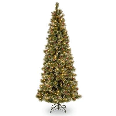 6.5 ft. Glittery Bristle Slim Pine Tree with Clear Lights
