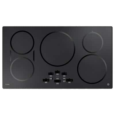 Profile 36 in. Induction Electric Cooktop in Black Stainless Steel with 5-Elements and Exact Fit