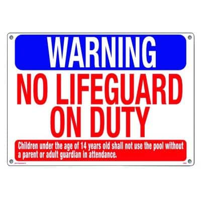 Warning: No Lifeguard on Duty Swimming Pool and Spa Sign