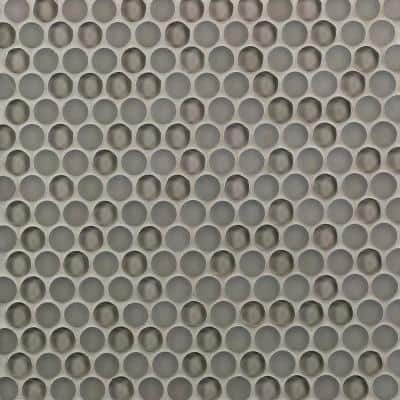 Contempo Taupe Circles 11-12 in. x 12 in. 8 mm Polished and  Frosted Glass Mosaic Tile(0.96 sq. ft. )