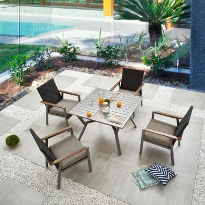 Thermal Transfer 5-Piece Wicker Patio Conversation Set with Khaki Cushions