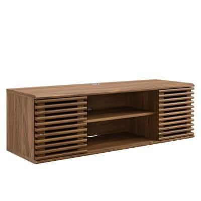 Render 46 in. Wall-Mount Media Console TV Stand in Walnut