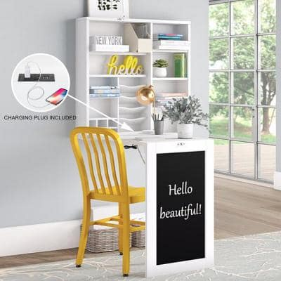 White Fold-Out Convertible Desk with Large Storage Cabinet Shelves Chalkboard Multi-Function Computer Desk Writing Desk