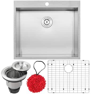 Arlo Zero Radius Drop-In 18-Gauge Stainless Steel 25 in. Single Bowl Kitchen Sink with Accessory Kit