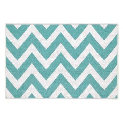 Traverse Cotton Light Teal 2 ft. x 3 ft. Thin Non Slip Indoor Area Rug or Front Door Foyer Rug for Entryway