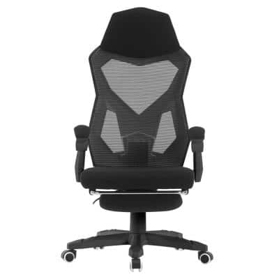 Black Mesh High Back Adjustable Recliner Ergonomic Executive Office Chair with Armrests and Footrest