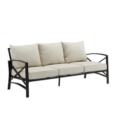 Kaplan Oil Rubbed Bronze Outdoor Metal Sofa with Oatmeal Cushions