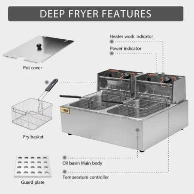 20.7 Qt. Stainless Steel Electric Deep Fryer with 2 6.35 Qt. Removable Baskets and Temperature Limiter