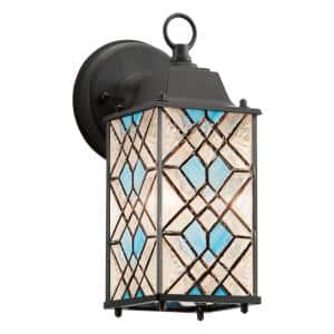 Easton 1-Light Black Satin Outdoor Stained Glass Wall Lantern Sconce