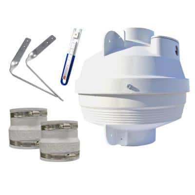 Radon Mitigation Fan Kit 4 in. Fan with 4 in. to 3 in. Couplers and Air Pressure Indicator