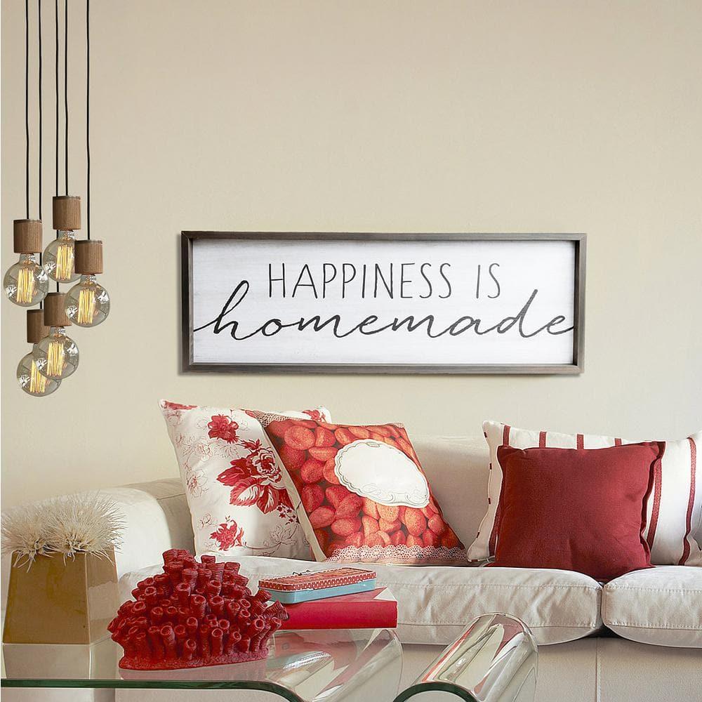 Home wall decor Happiness is homemade Framed wood sign Farmhouse decor Kitchen sign Custom wall decor