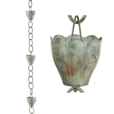 8.5 ft. 6-Cup Crocus Pure Copper Rain Chain