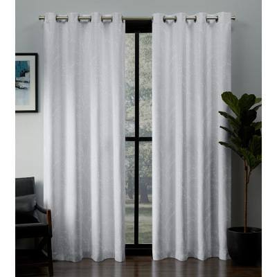 Winter Floral Thermal Blackout Curtain - 52 in. W x 96 in. L (Set of 2)