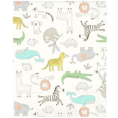 Orange Colorful Zoo Animals Super Soft Fitted Polyester Crib Sheet