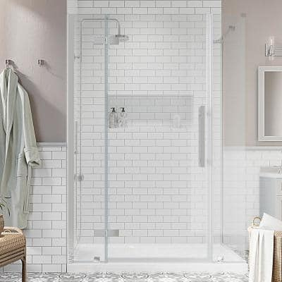 Tampa 48 in. L x 32 in. W x 72 in. H Corner Shower Kit with Pivot Frameless Shower Door in Chrome and Shower Pan