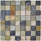 Crag Square Multi Grey 11-3/4 in. x 11-3/4 in. x 11 mm Slate Mosaic Tile