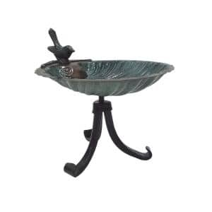10.75 in. Tall Antique Brass Plated Scallop Shell Birdbath with Tripod Stand