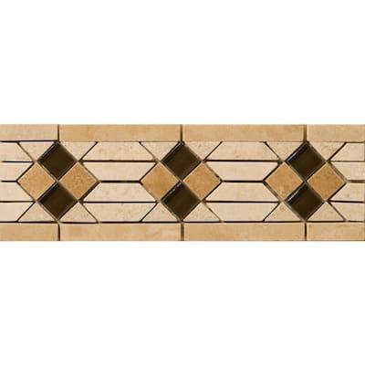Trav Cortina Tumbled Sorapis Listello, Floor 4.02 in. x 11.81 in. Travertine Tile (0.33 sq. ft.)