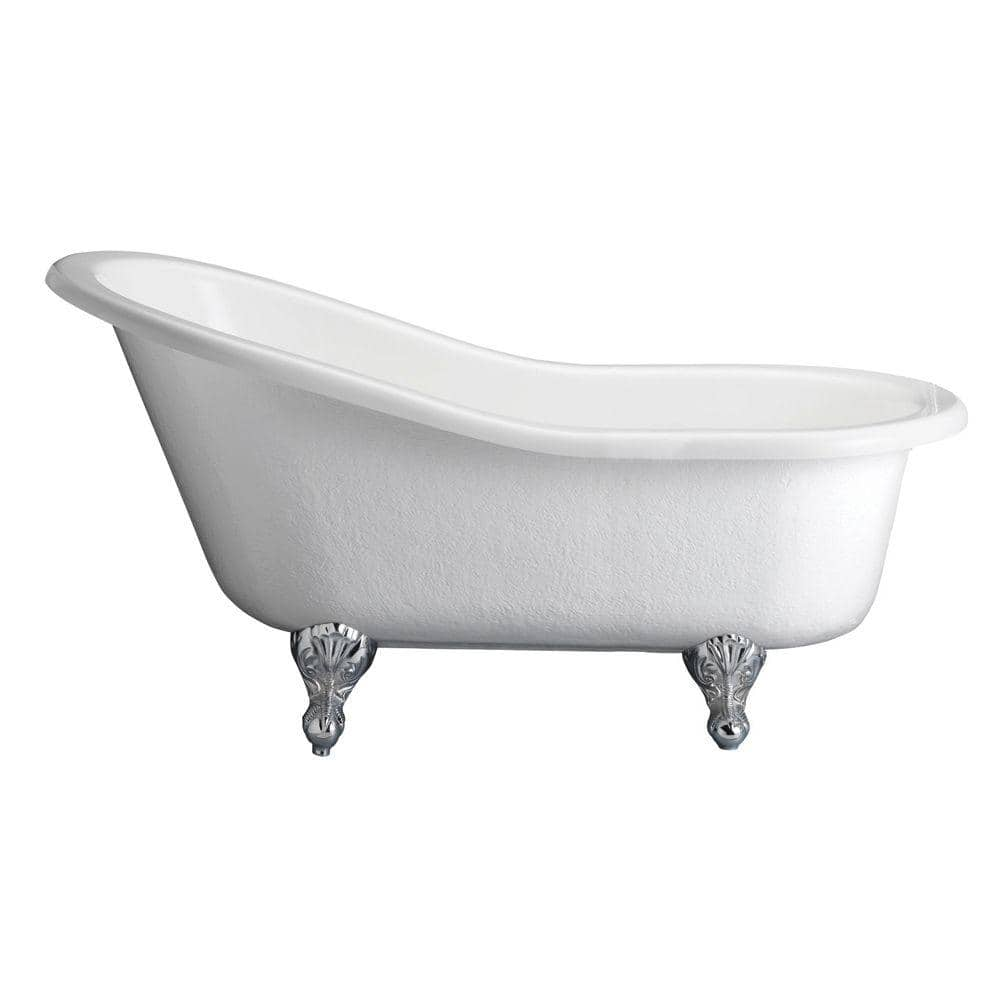 Barclay Products 5 6 Ft Acrylic Claw Foot Slipper Tub In White With Black Feet Ats67 Wh Bl The Home Depot