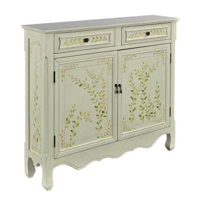 41 in. White Hand Painted Standard Rectangle Wood Console Table with Drawers
