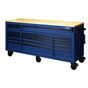72 in. 18-Drawer Mobile Workbench with Adjustable-Height Solid Wood Top in Matte Blue