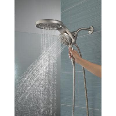 HydroRain Two-in-One 5-Spray 6 in. Dual Wall Mount Fixed and Handheld H2Okinetic Shower Head in Champagne Bronze
