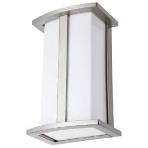 6.5 in. Brushed Nickel Modern Square E26 Base Indoor LED Sconce with White Polycarbonate Shade
