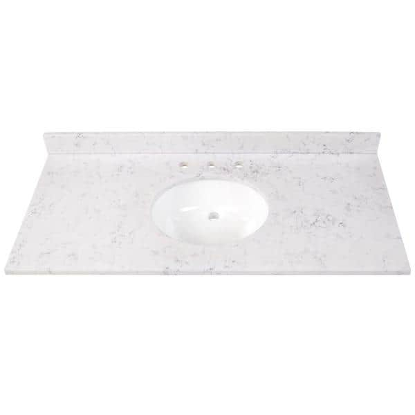 Home Decorators Collection 49 In W X 22 In D Stone Effects Vanity Top In Pulsar With White Sink Se49o Pr The Home Depot