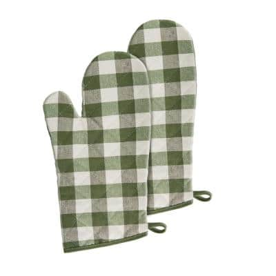 Buffalo Check Polyester/Cotton Sage Oven Mitts (2-Pack)