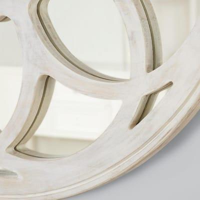 Medium Round White Antiqued Classic Accent Mirror (40 in. Diameter)