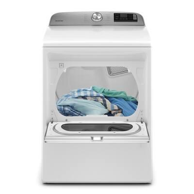 7.4 cu. ft. 120-Volt Smart Capable White Gas Dryer with Hamper Door