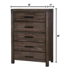 Rexburg Dark Gray Wire-Brushed Transitional Style Chest of Drawers
