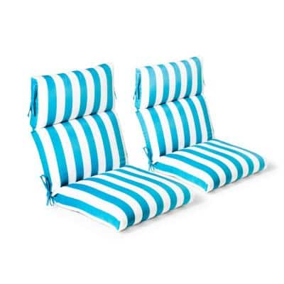 21.5 in. x 44 in. x 4 in. Awning Stripe Seaglass Outdoor Highback Dining Chair (2 Pack)