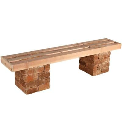 RumbleStone 72 in. x 17.5 in. x 14 in. Concrete Garden Bench Kit in Sierra Blend